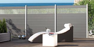 Sichtschutzzaun Holz 200 Cm Hoch ~ Sichtschutzzaun SYSTEM WPC Zaunfeld Set Mandel, Leiste Anthrazit