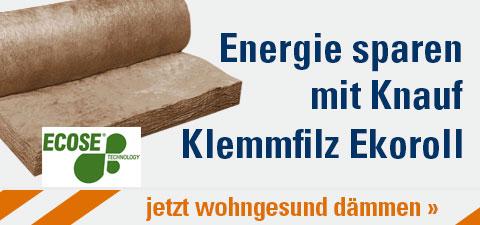 Energie sparen mit Knauf Klemmfilz Ekoroll