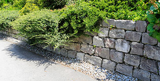 Muschelkalkoptik Gartenmauern