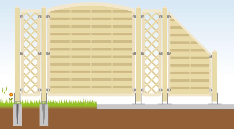 Zaunelemente Holz Aufstellen ~ Holz Sichtschutzzaun planen und aufstellen